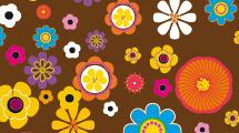 Fondo marrón con flores