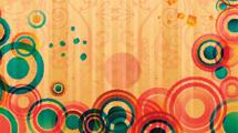 Fondo naranja con adornos sutiles y círculos de colores en el inferior