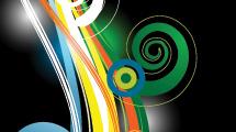 Fondo negro con líneas decorativas a la izquierda y swirls de colores