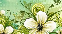 Fondo verde floreado