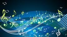 Fondos oscuros con diseños de notas musicales en varios colores