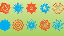 Formas geométricas en dos colores diferentes, celeste y naranja