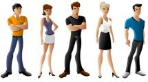 Gente: Personas paradas, hombres y mujeres en diferentes atuendos