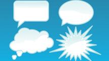 Globos de texto con bordes celestes
