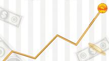 Gráfico relacionado a los negocios con línea en subida y dinero