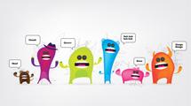 Grupo de simpáticos monstruos