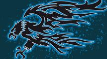 Águila con bordes azules