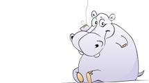 Hipopótamo con globo