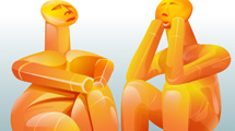 Hombres abstractos naranjas