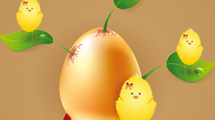 Huevo de pascuas con pollitos