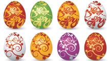 Huevos de pascua con adornos ornamentales