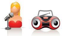 Iconos 3D sobre música