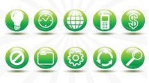 Iconos circulares verdes