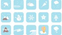 Iconos con dibujos de clima en tonos celestes