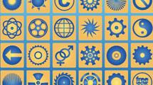 Iconos con diseño circular en amarillo y azul