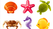 Iconos de animales marinos llenos de color