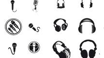 Iconos de auriculares en negro