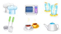 Iconos de cocina: Elementos glossy