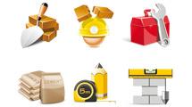 Iconos de construcción en 3D