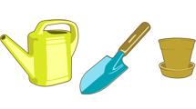 Iconos de jardinería con bordes marcados.