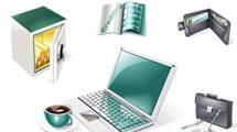 Iconos de negocios y mercado verdes y plateados