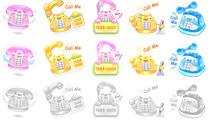 Iconos de teléfonos estilo cartoon en varios colores