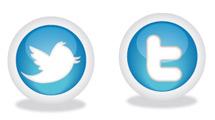 Iconos de Twitter circulares con sombra