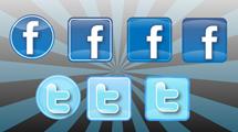 Iconos de Twitter y Facebook