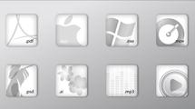 Iconos en blanco y gris