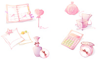 Iconos femeninos en rosado