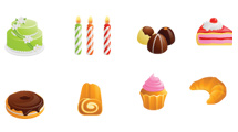 Iconos ilustrando comidas variadas dulces