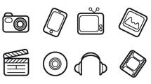 Iconos multimedia a líneas