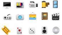 Iconos multimedia con formas redondeadas