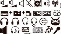 Iconos multimedia de líneas simples