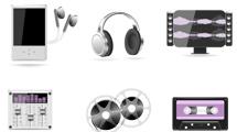 Iconos musicales con detalles violeta