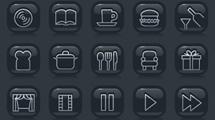 Iconos negros con reflejo
