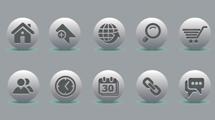 Iconos plateados circulares