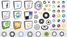Iconos sociales, badges y tuercas