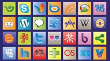 Iconos sociales en cuadros de color
