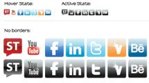 Iconos sociales en dos estilos