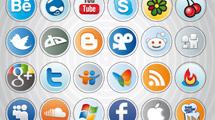 Iconos sociales en forma circular