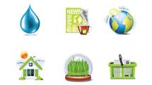 Iconos verdes sobre ecología y naturaleza