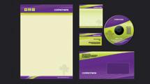 Identidad corporativa violeta y verde