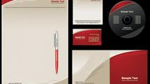 Identidad Corporativa: Paquete en rojo y crema