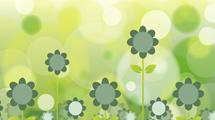 Ilustración con flores verdes de líneas simples