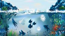Ilustración con peces en el fondo del mar