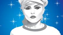 Ilustración de Blondie en tonos grises con estrellas