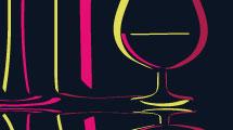 Ilustración de botella y copas
