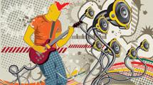 Ilustración de un cantante con cresta de pelo roja