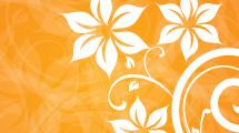 Ilustración naranja con flores blancas